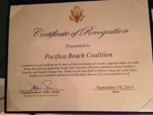 Jackie Speier certificate
