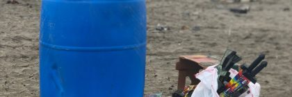 trash barrel filled with used fireworks